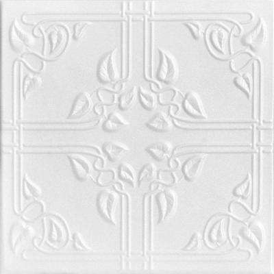 Ivy Leaves 1.6 ft. x 1.6 ft. Foam Glue-up Ceiling Tile in Plain White (21.6 sq. ft. / case)