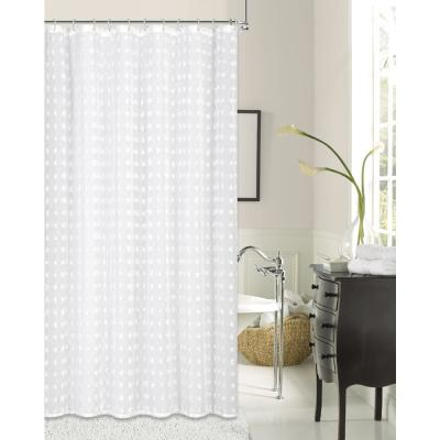 Cut Flower 72 in. Linen Look Fabric Shower Curtain