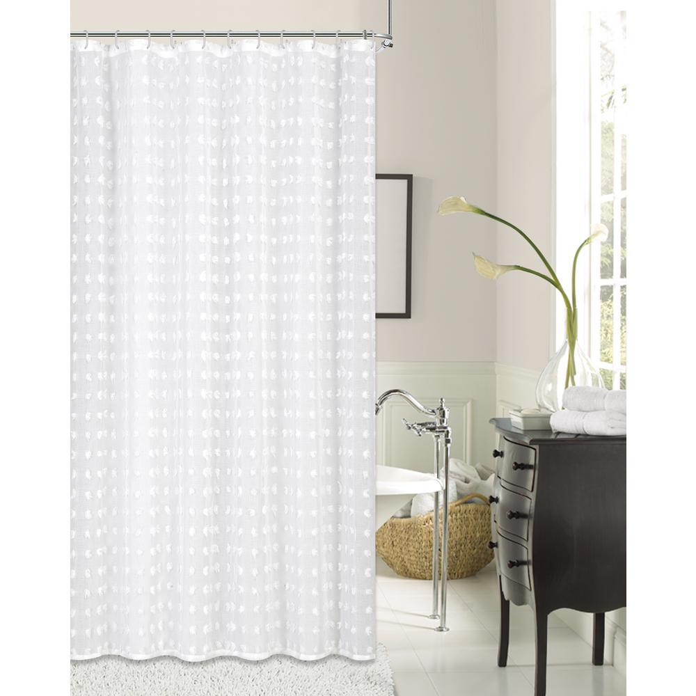 Cut Flower 72 in. Linen Look Fabric Shower Curtain