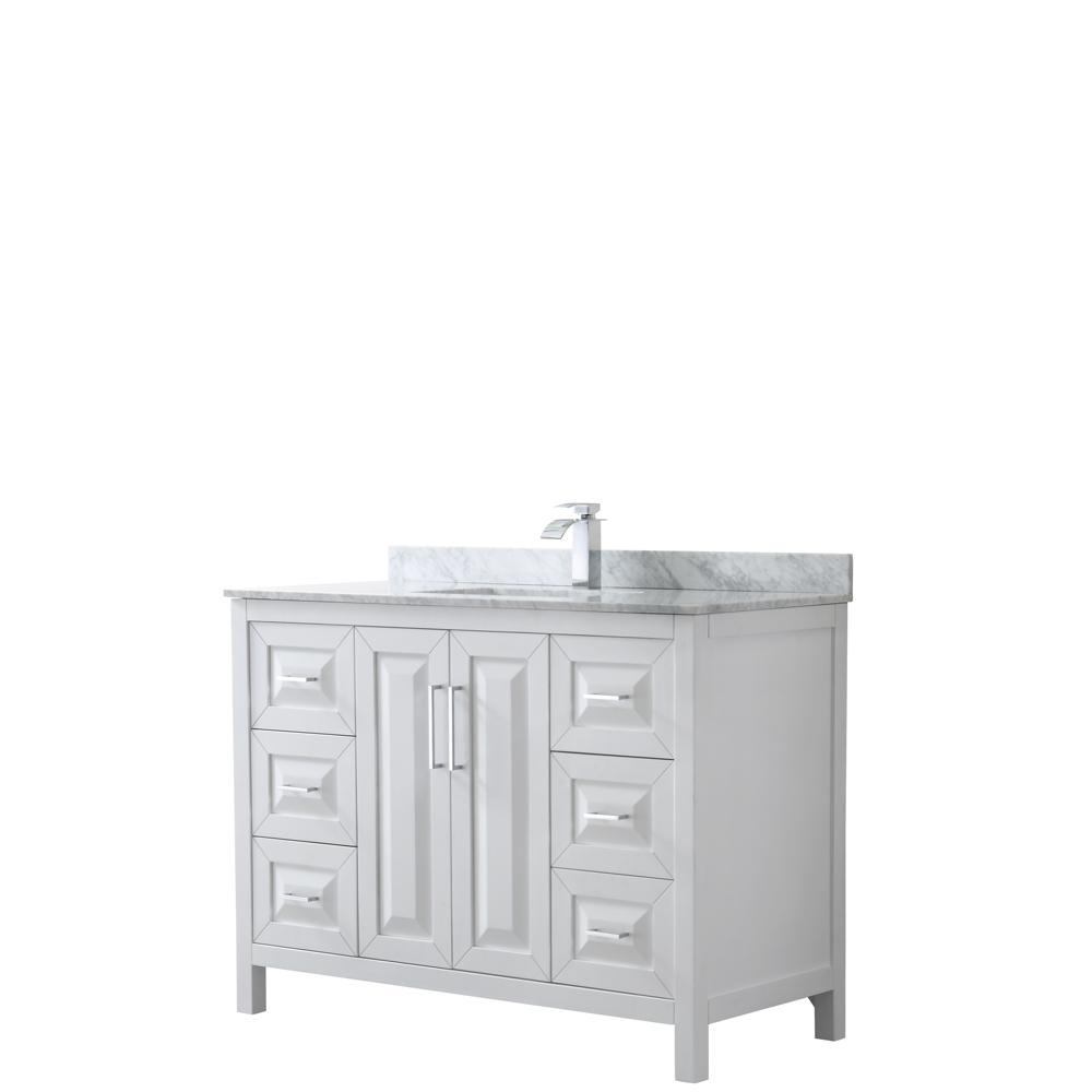Wyndham Collection Daria 48 in. Single Bathroom Vanity in White with Marble Vanity Top in Carrara White with White Basin