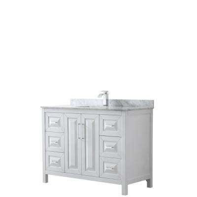 Daria 48 in. Single Bathroom Vanity in White with Marble Vanity Top in Carrara White with White Basin