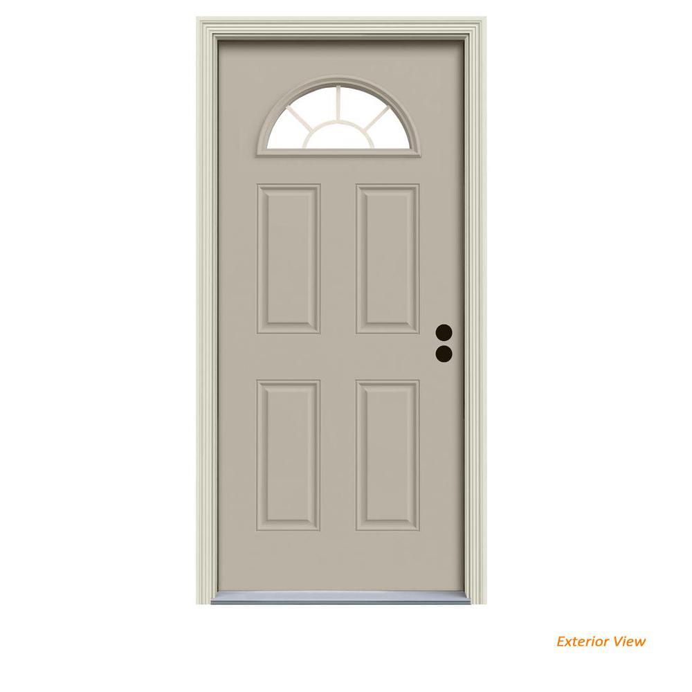 32 in. x 80 in. Fan Lite Desert Sand Painted Steel Prehung Left-Hand Inswing Front Door w/Brickmould