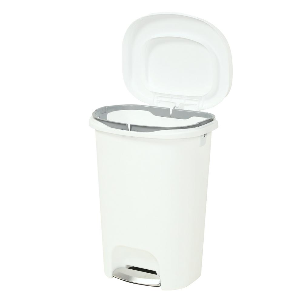 step on trash can 13 gal rubbermaid waste garbage bin basket kitchen home white ebay. Black Bedroom Furniture Sets. Home Design Ideas