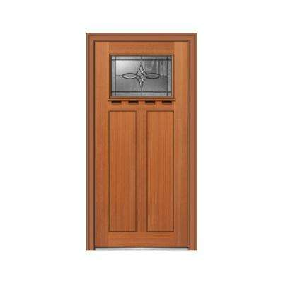 32 in. x 80 in. Lenora Right-Hand Inswing 1-Lite Decorative Craftsman Stained Fiberglass Fir Prehung Front Door w/ Shelf