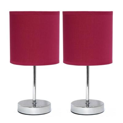 11 in. Chrome Mini Basic Wine Table Lamp with Fabric Shade (2-Pack)