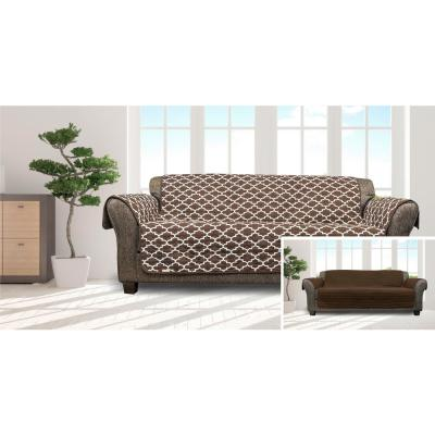 Coby Chocolate Reversible Water Resistent Microfiber Sofa Cover