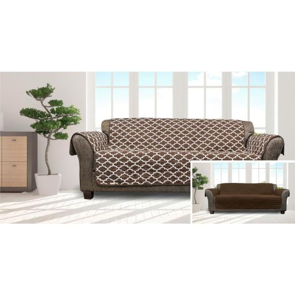Duck River Coby Chocolate Reversible Water Resistent Microfiber Sofa Cover