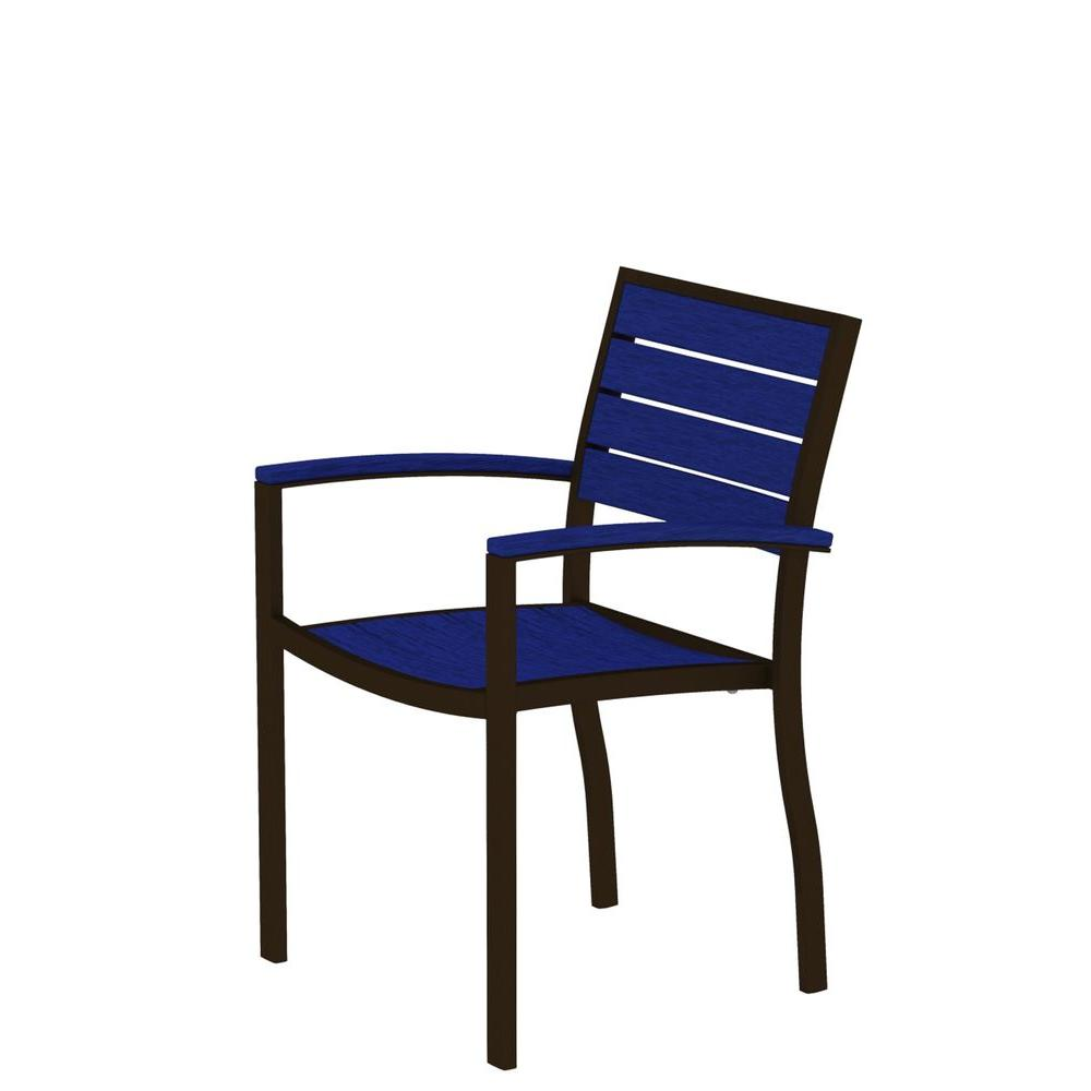 POLYWOOD Euro Textured Bronze Patio Dining Arm Chair with Pacific Blue Slats