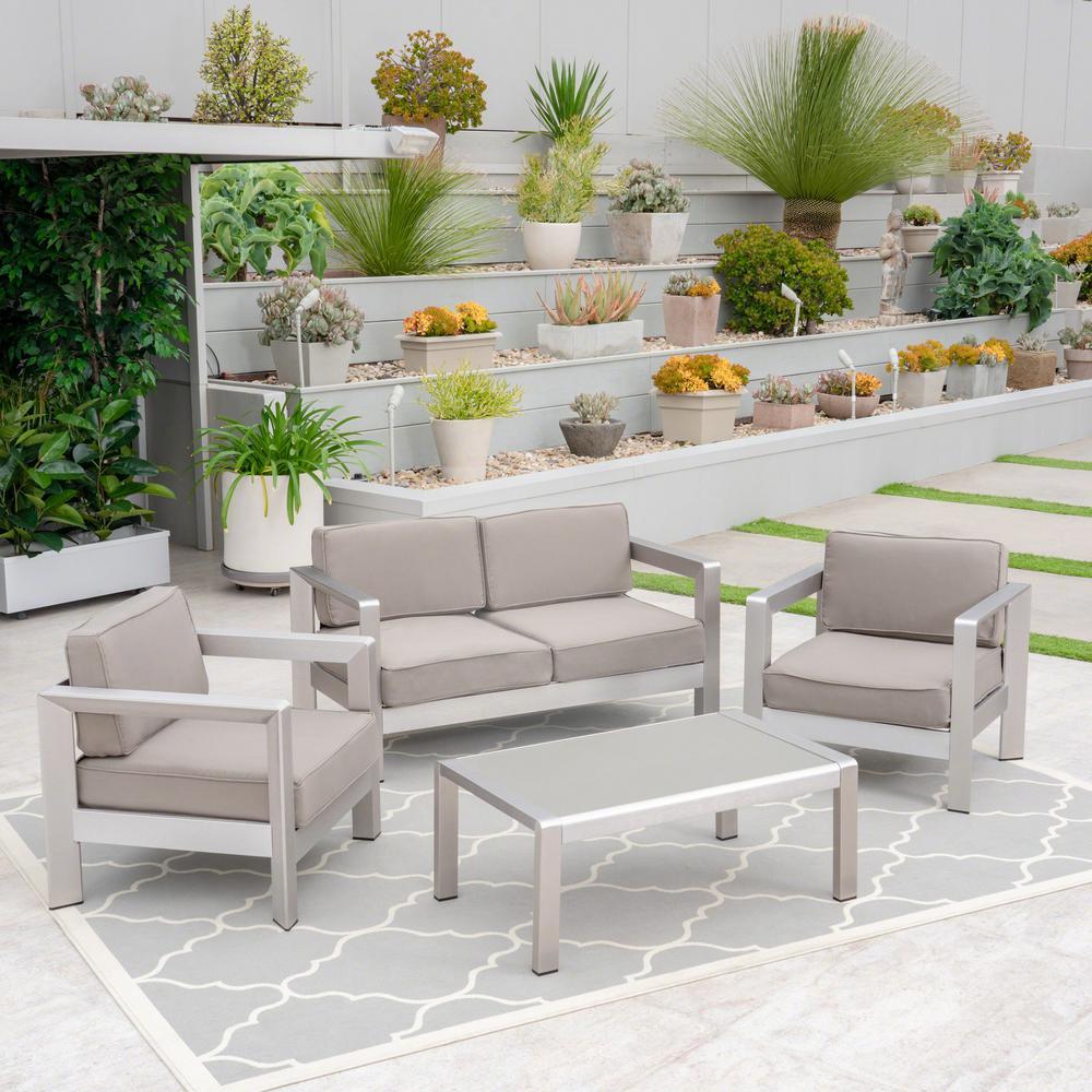 Alvira Silver 4-Piece Aluminum Patio Conversation Set with Khaki Cushions