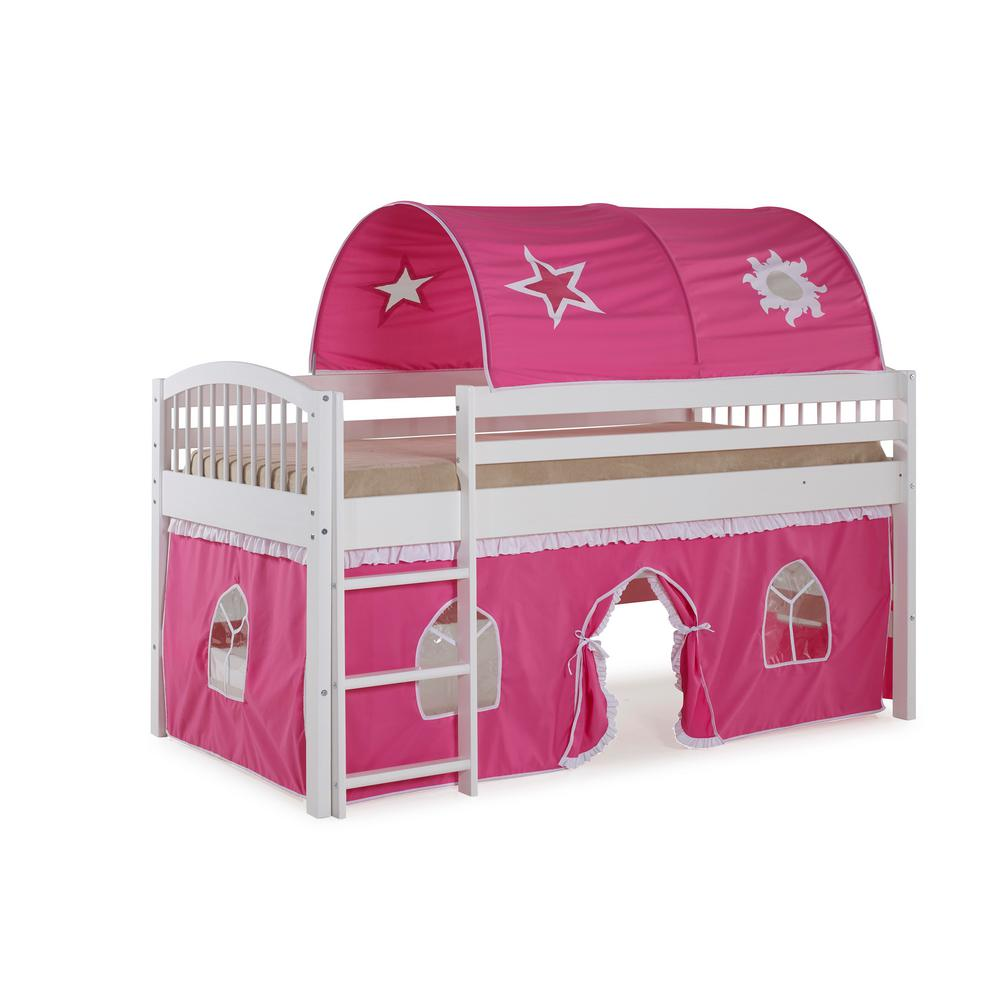Addison Junior Loft Bed White with Pink and White Tent and