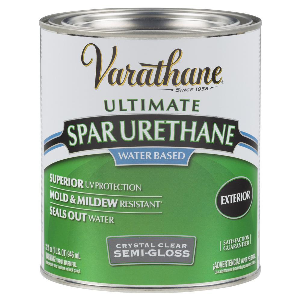 Varathane 1 qt. Clear Semi-Gloss Water-Based Outdoor Spar Urethane (2-Pack)