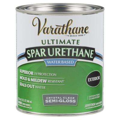 1 Qt. Clear Semi-Gloss Water-Based Outdoor Spar Urethane (Case of 2)