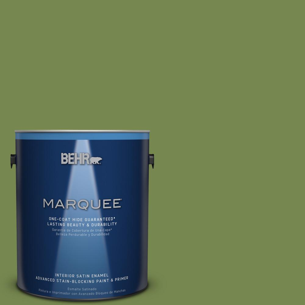 1 gal. #HDC-SM14-2 Green Suede Satin Enamel Interior Paint