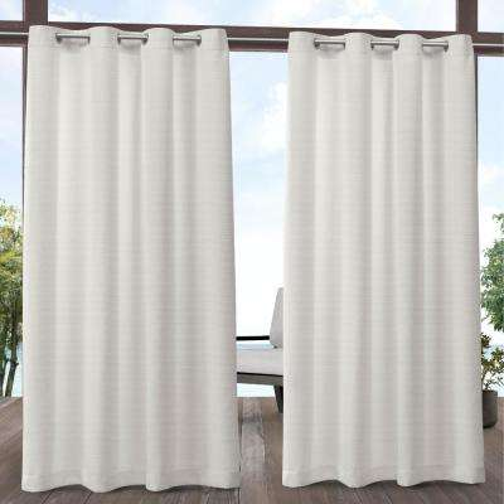 Aztec 54 in. W x 84 in. L Indoor Outdoor Grommet Top Curtain Panel in Vanilla (2 Panels)