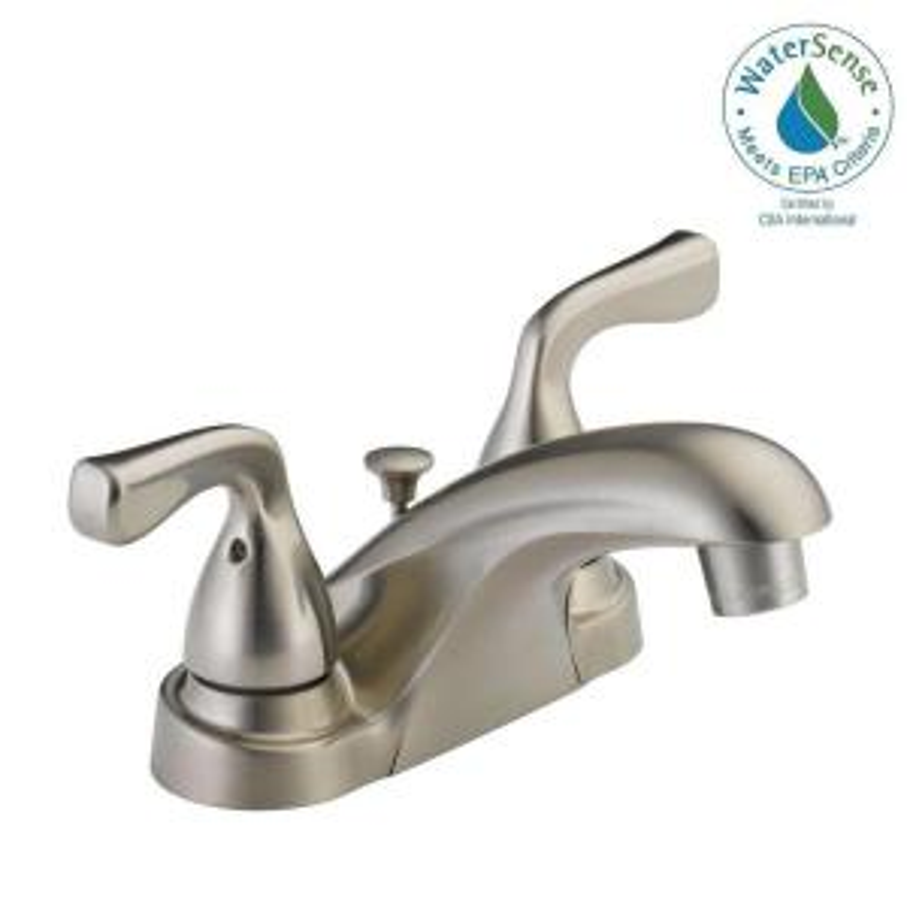 Delta foundations 4 in centerset 2 handle bathroom faucet - Delta bathroom faucets brushed nickel ...