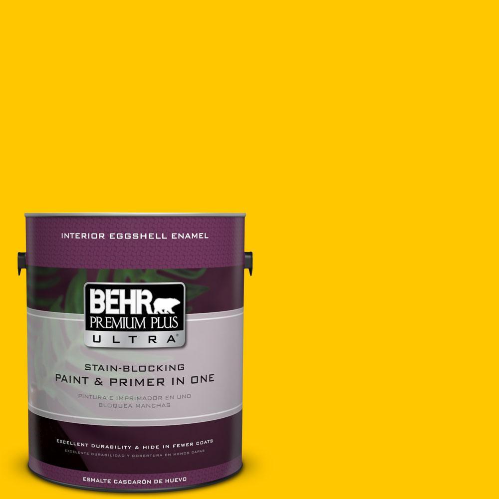 1 gal. #370B-7 Yellow Flash Eggshell Enamel Interior Paint and Primer