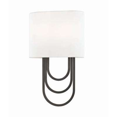 Farah 2-Light Old Bronze Wall Sconce with White Linen Shade