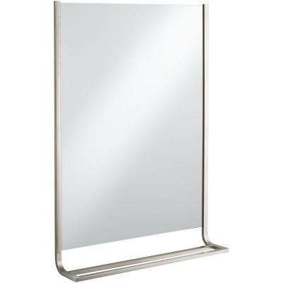Loure 25 in. x 36 in. Single Wall Mirror and Towel Bar in Vibrant Brushed Nickel