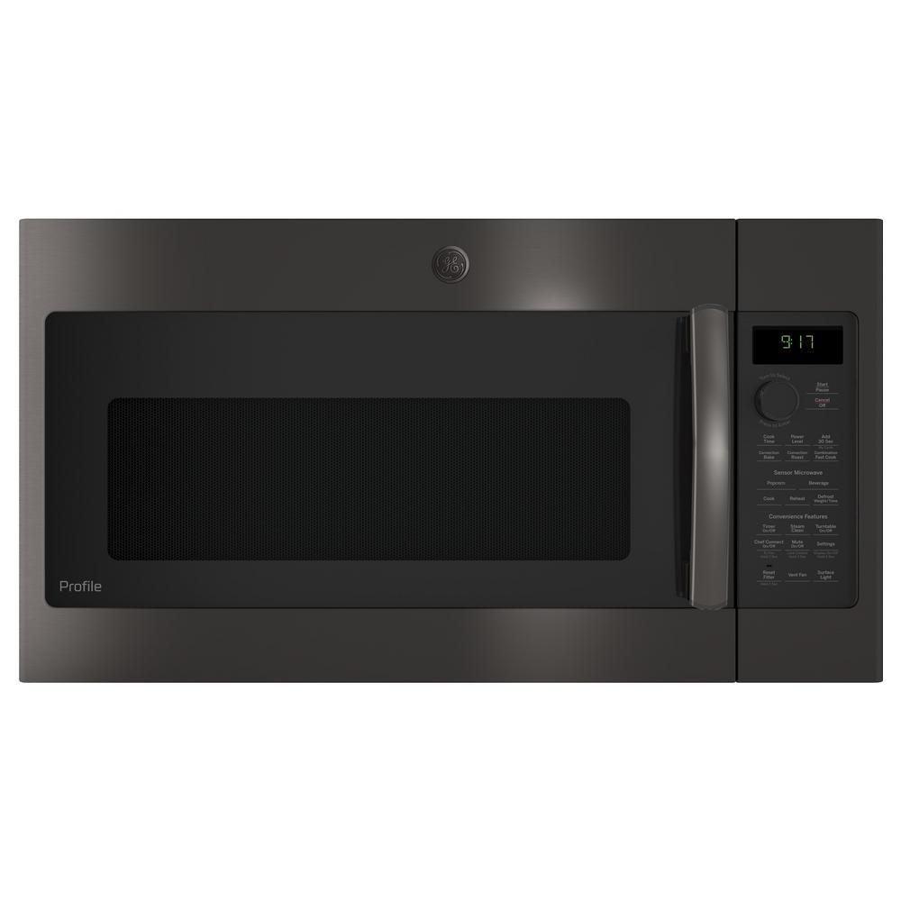 Ge Profile 1 7 Cu Ft Over The Range Convection Microwave In Black Stainless Steel