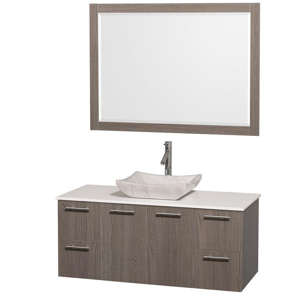 Vanity Grey Oak Vanity Top White Marble Sink Mirror