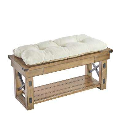 The Gripper Tufted 36 in. Omega Ivory Universal Bench Cushion
