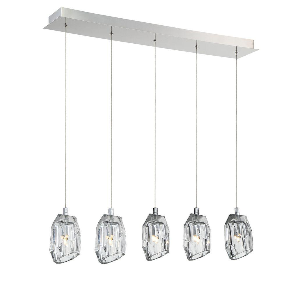 Diffi Collection 5-Light Chrome Chandelier with Glass Shade