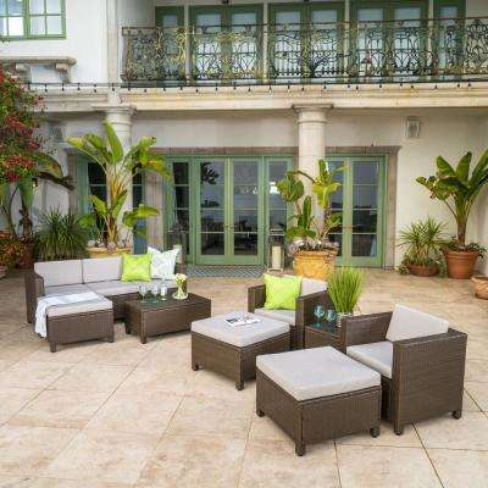 10-Piece Wicker Patio Conversation Set with Ceramic Gray Cushions