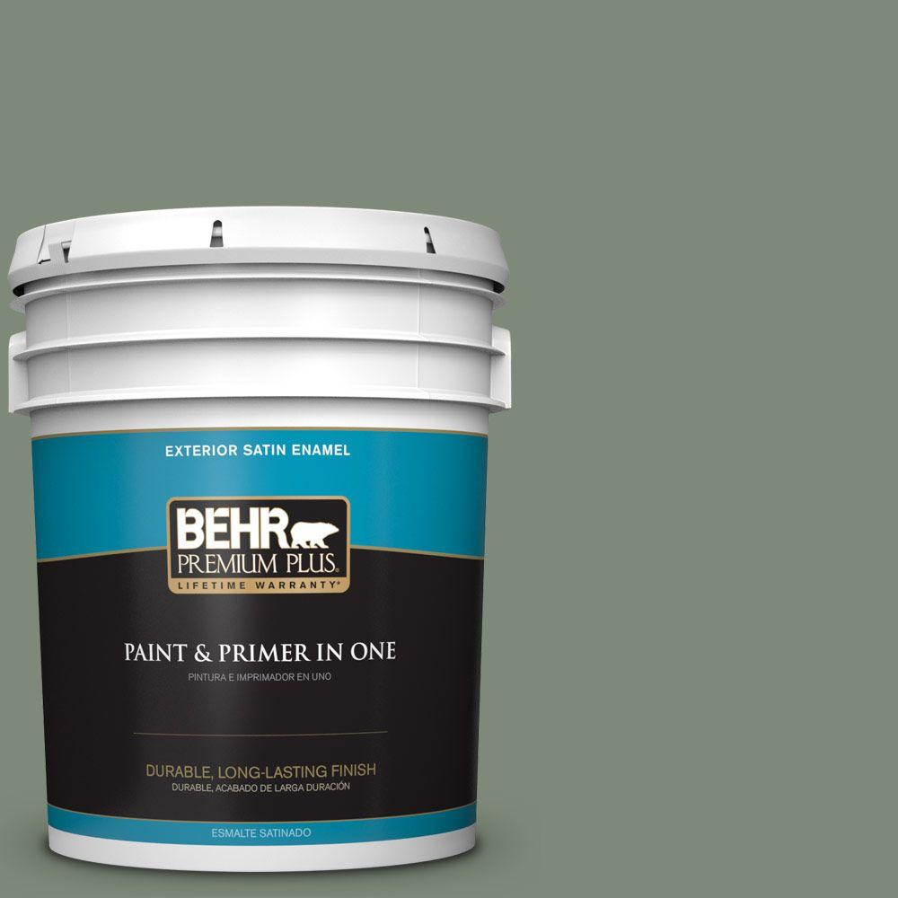 BEHR Premium Plus 5-gal. #450F-5 Amazon Moss Satin Enamel Exterior Paint