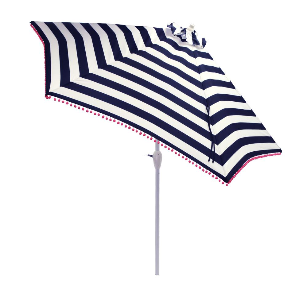 Hampton Bay 9 ft. Aluminum Market Tilt Patio Umbrella in Black Cabana Stripe with Pom Trim