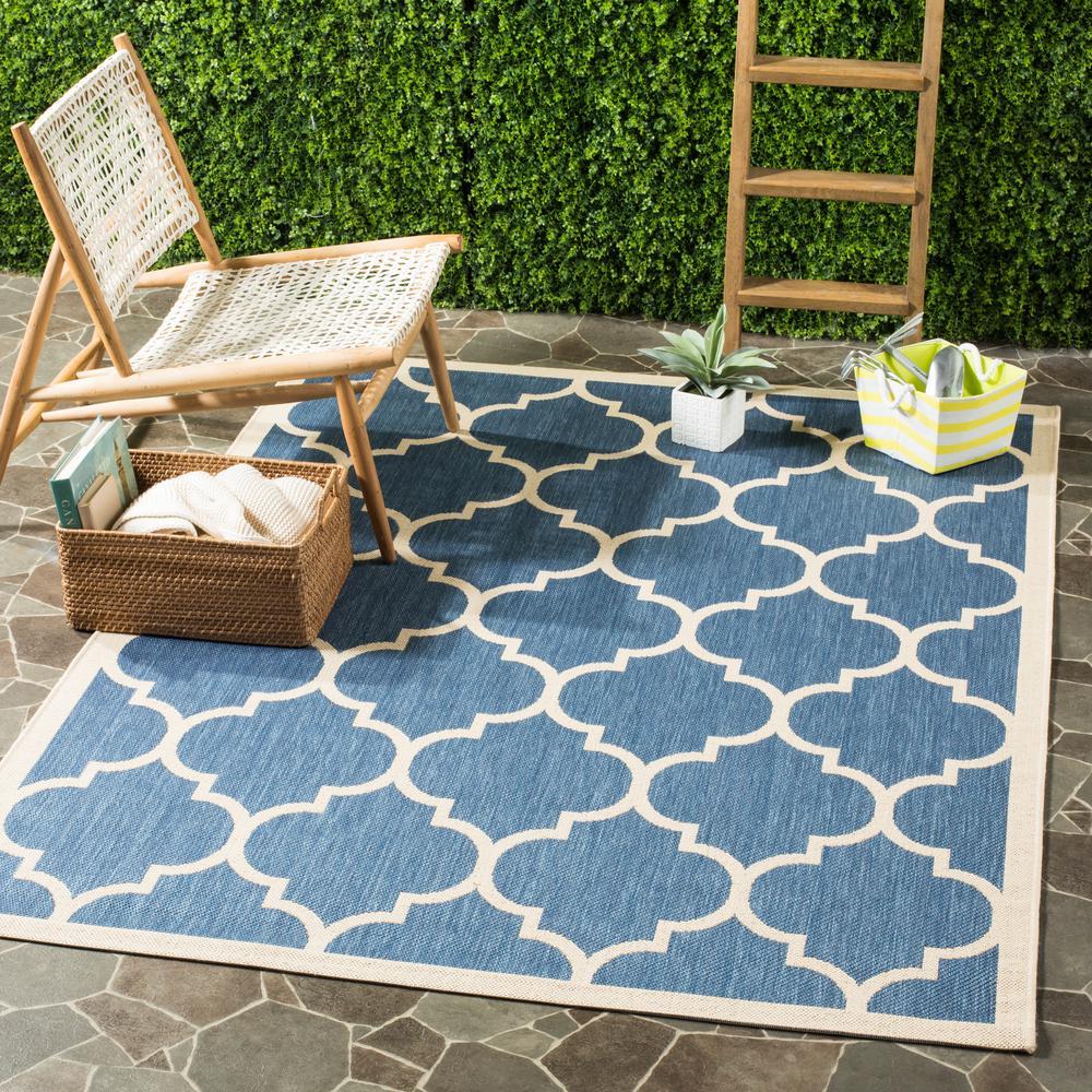 Courtyard Blue/Beige 9 ft. x 12 ft. Indoor/Outdoor Area Rug