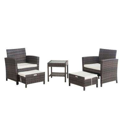 5-Piece Wicker Outdoor Patio Seating Set with White Cushions
