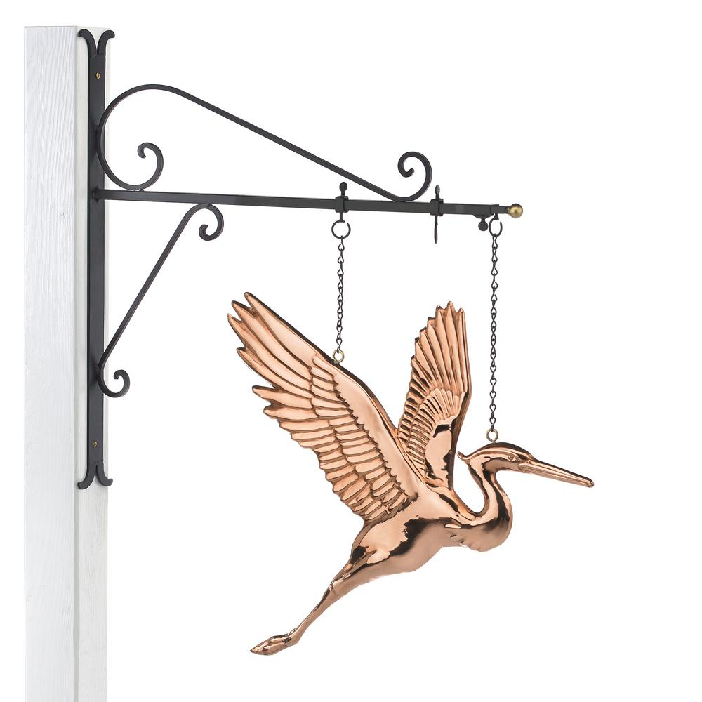 Blue Heron Copper Hanging Wall Sculpture - Nautical Home Decor