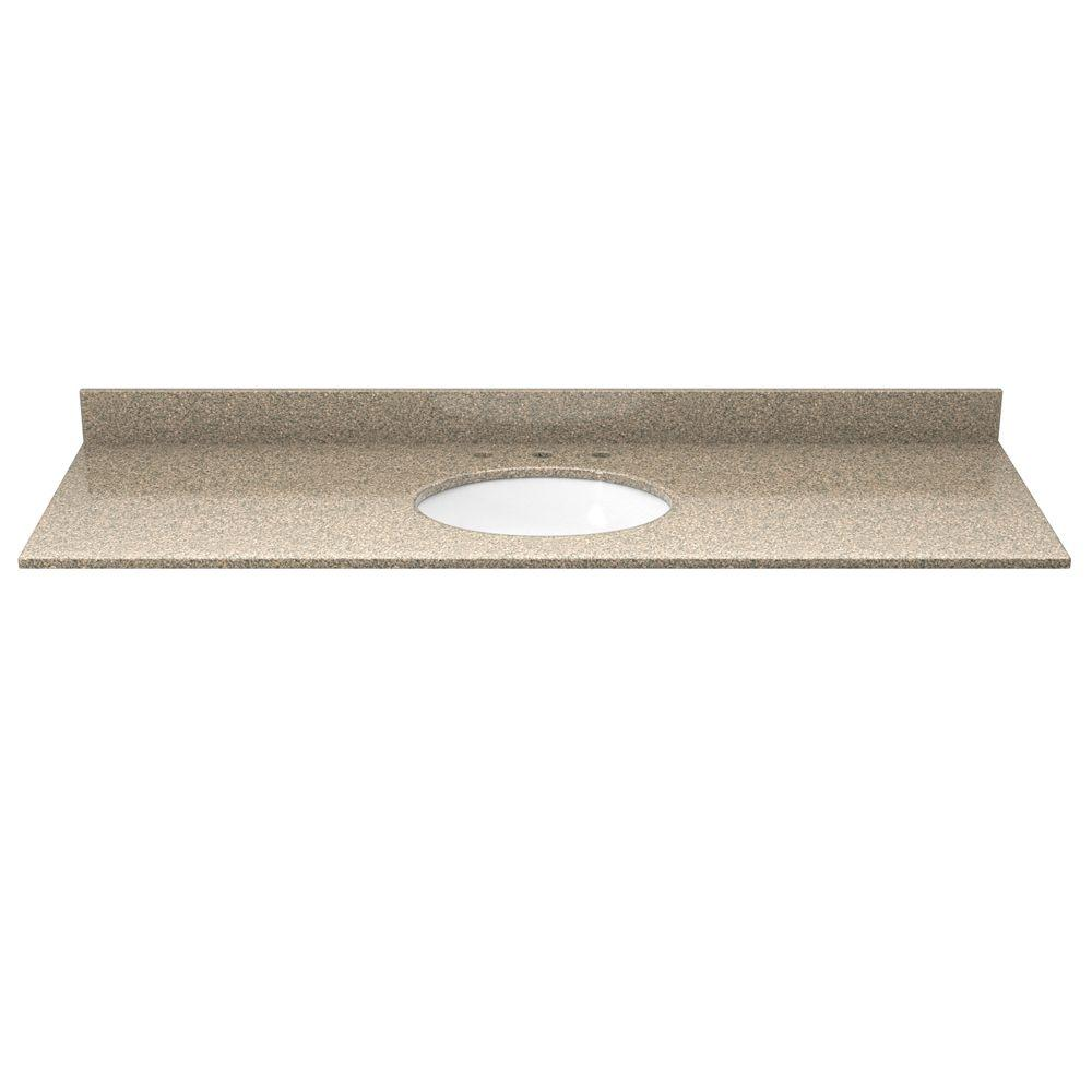 Solieque 49 in. Granite Vanity Top in St. Tropez Gold with White Basin-DISCONTINUED