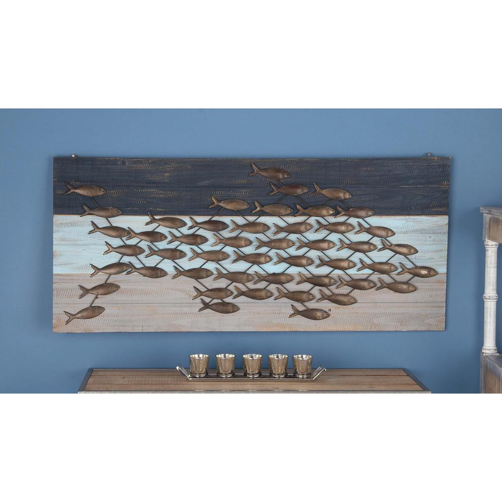 48 in. x 21 in. Coastal Living Wood and Metal Fish