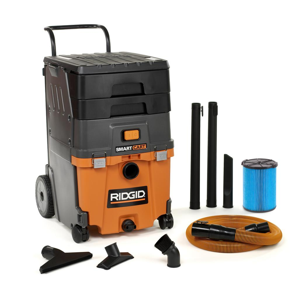 RIDGID 11 Gal. 6.5-Peak HP Smart Cart Wet/Dry Shop Vacuum with Fine Dust Filter, Professional Hose and Accessories