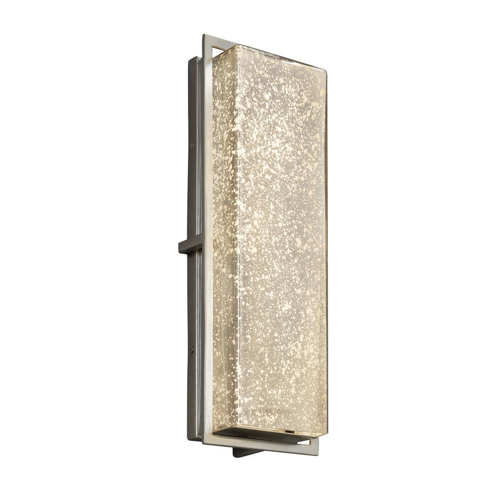 Justice Design Fusion Avalon Large Brushed Nickel Integrated LED Outdoor Wall Sconce with Mercury Glass Shade
