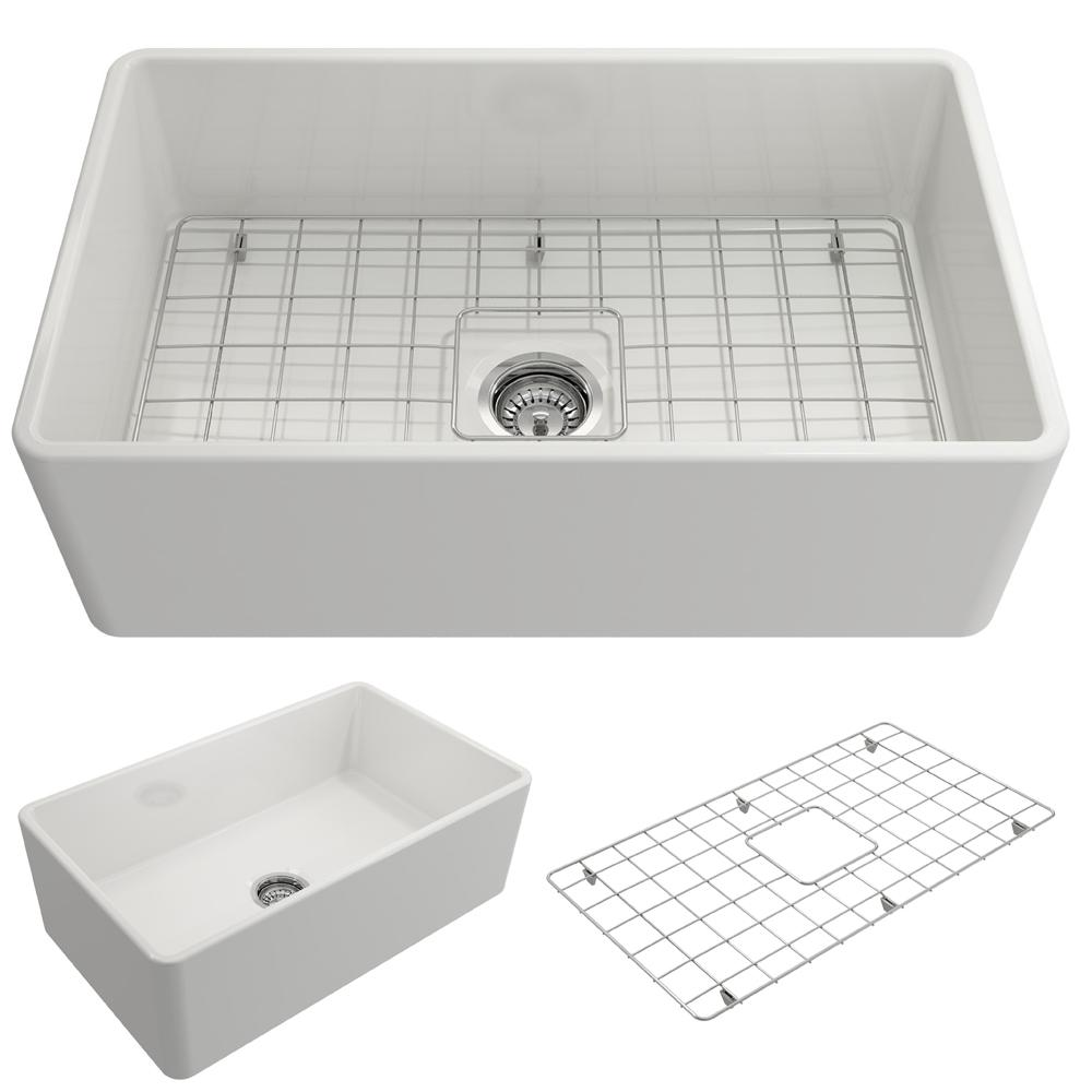 BOCCHI Classico Farmhouse Apron Front Fireclay 30 in. Single Bowl Kitchen Sink with Bottom Grid and Strainer in White