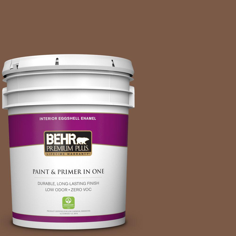 5 gal. #BXC-65 Outback Brown Zero VOC Eggshell Enamel Interior Paint