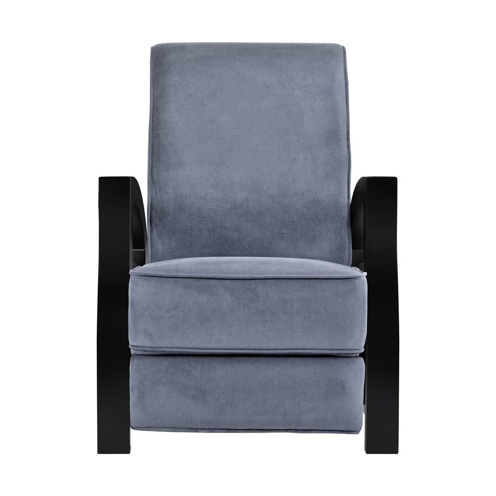 KUTA Solid Wood Java Black and Premium Grey Microvelvet Recliner