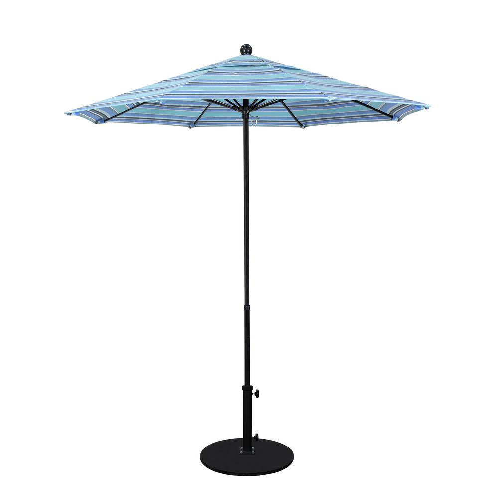 7.5 ft. Fiberglass Pole Market Fiberglass Ribs Push Lift Patio Umbrella in Dolce Oasis Sunbrella