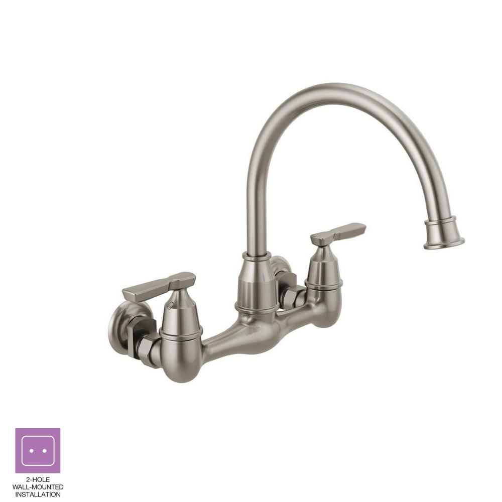 Delta Corin 2 Handle Wall Mount Kitchen Faucet In Stainless 22722lf