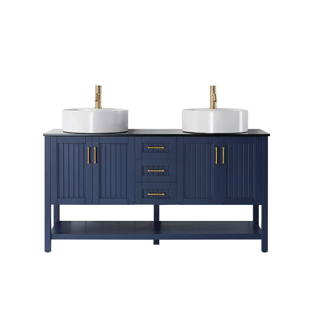 Roswell Modena 60 In Vanity In Blue With Tempered Glass Top In