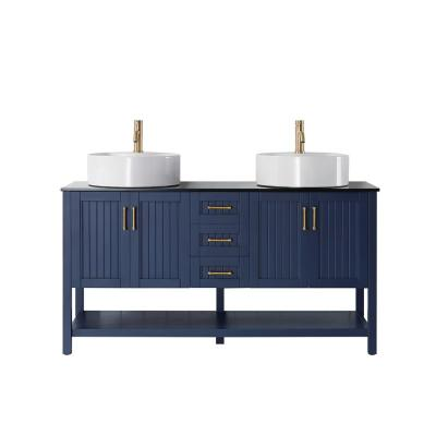 Modena 60 in. Vanity in Blue with Tempered Glass Top in Black with White Vessel Sink