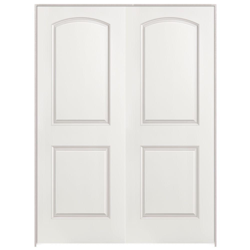 Roman 2 Panel Round Top Primed White Hollow Core Smooth Composite Prehung  Interior French Door 09970   The Home Depot