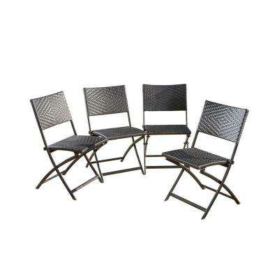 Samantha Multi-Brown Foldable Wicker Outdoor Dining Chair (4-Pack)