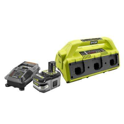 18-Volt ONE+ Lithium-Ion Lithium+ HP 6.0 Ah Starter Kit with ONE+ 6-Port Dual Chemistry IntelliPort Super Charger