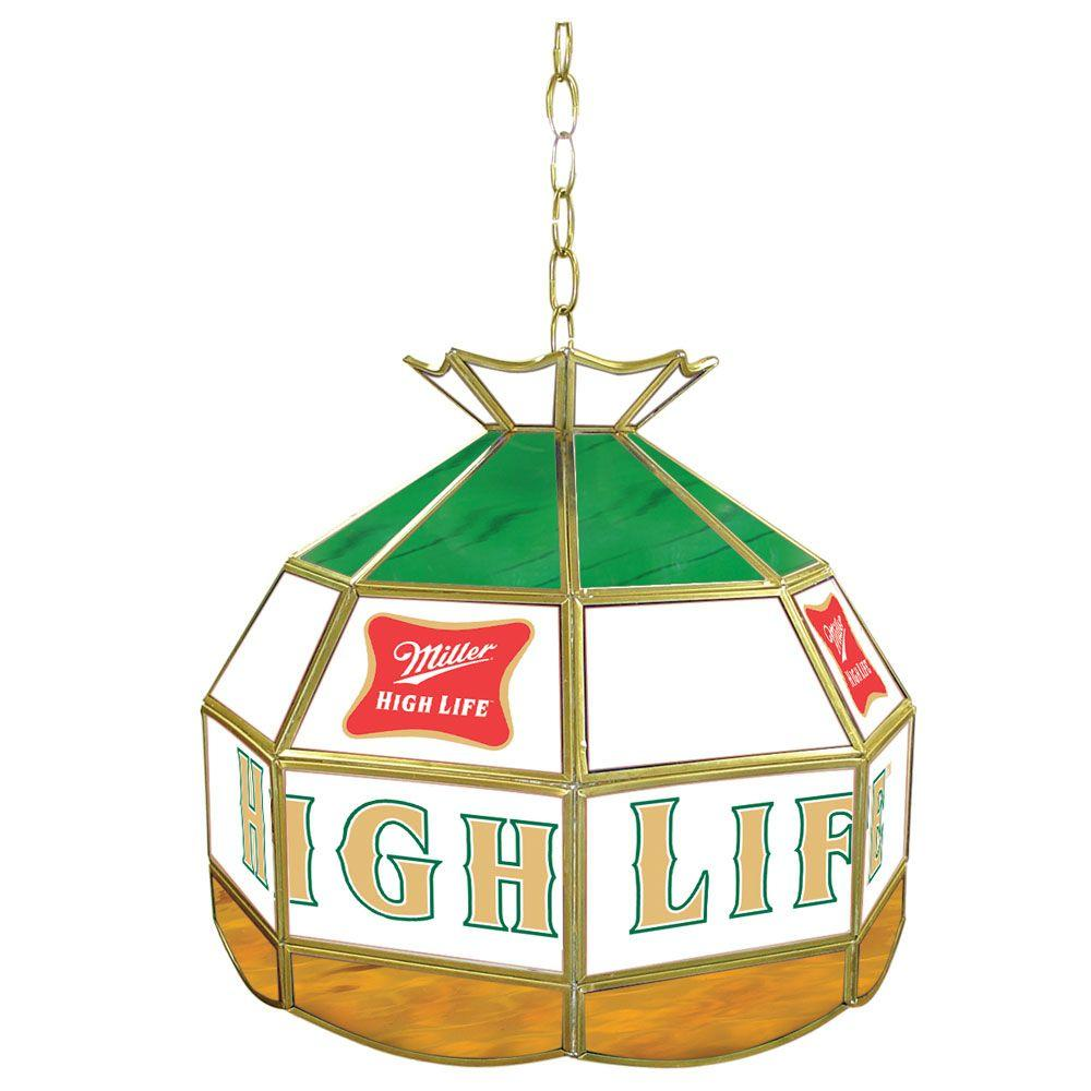 Trademark Global Miller High Life 16 in. Stained Glass Billiard Hanging Tiffany Light