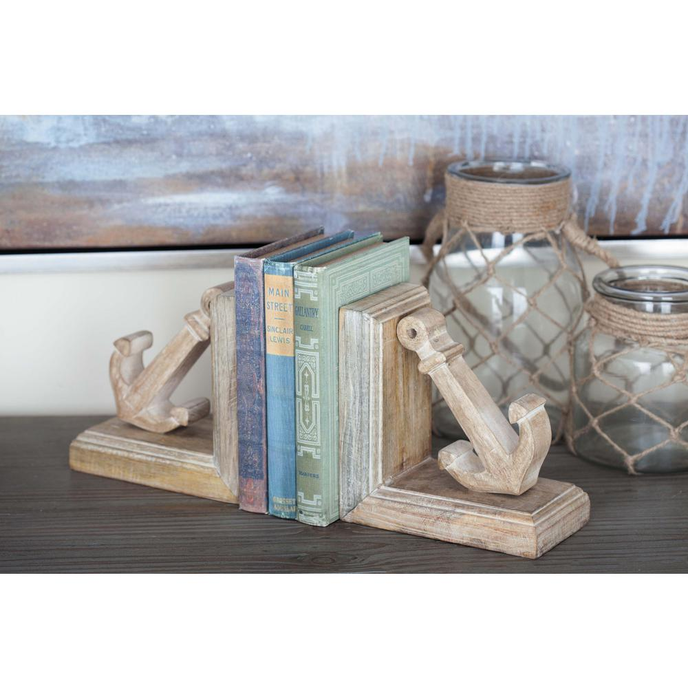 7 in. x 4 in. Brown Anchor Bookends (Set of 2)