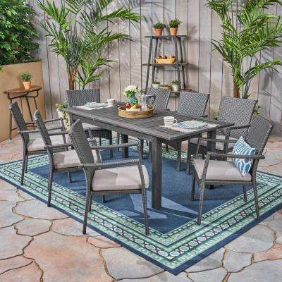 Davenport Grey 9-Piece Wood and Wicker Outdoor Dining Set with Grey Cushions