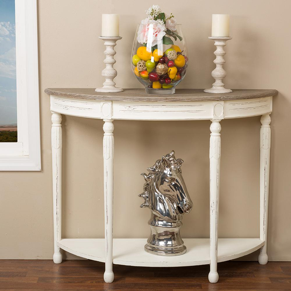 Alys White and Natural Console Table